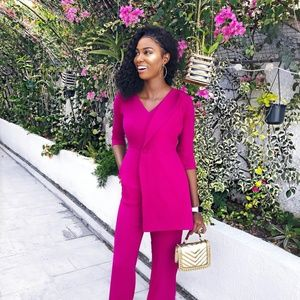 Elegant and Classy Jumpsuit in Magenta and Mustard